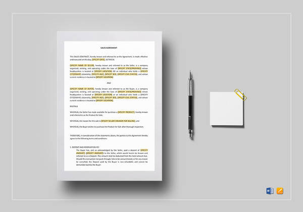 simple sales contract word template