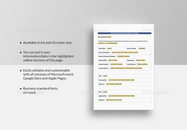 simple service quotation template