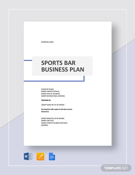 sports bar business plan template