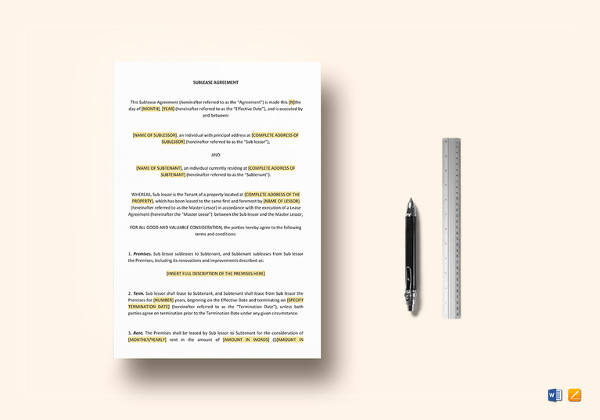 sublease agreement template in word