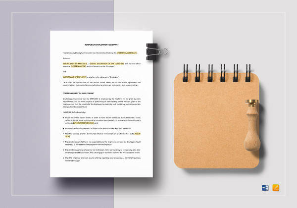 temporary employment contract template