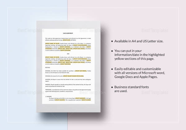 used car sale contract template in google docs