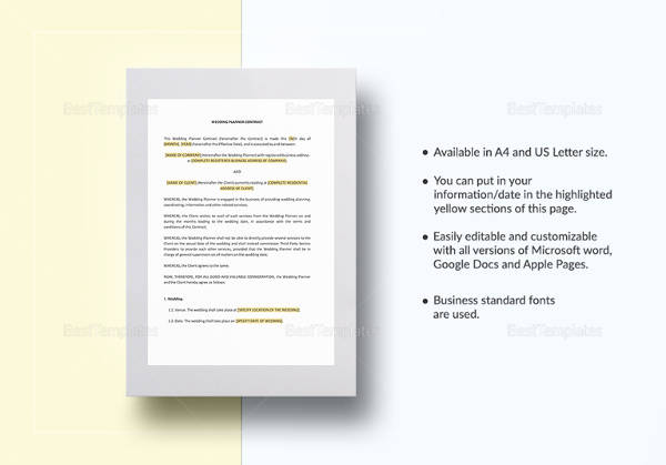 Event Planner Contract Sample - 14+ Examples in Word, PDF