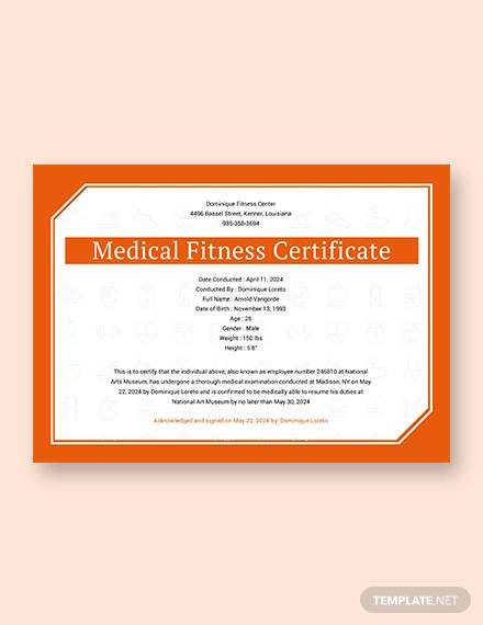 free medical fitness sample