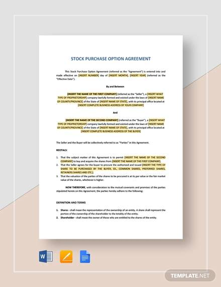 offer to purchase shares agreement