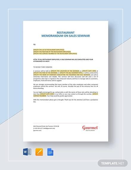 restaurant memorandum on sales