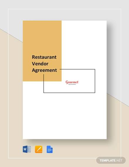 restaurant vendor agreement