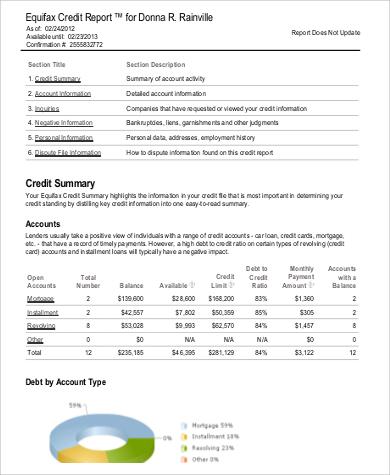 equifax credit report format