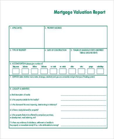 mortgage valuation report