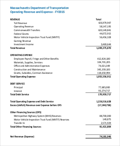 revenue and expense report