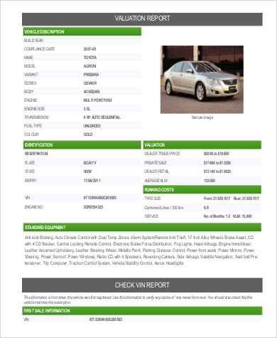 car valuation report format