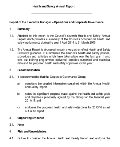 Health And Safety Report Sample