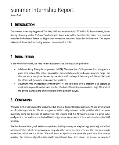 Internship Report Sample Internship Weekly Report Template Sample