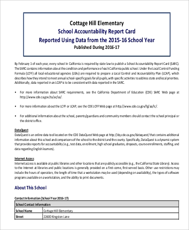 sample school report card
