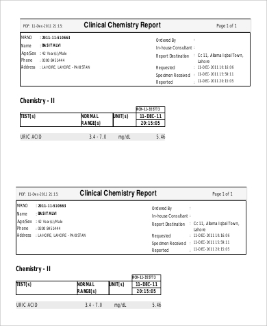 clinical chemistry report