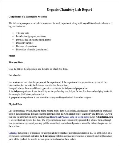 chem lab report example