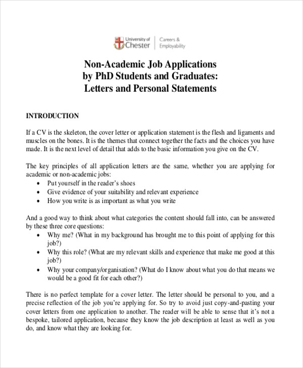 non academic job application letter