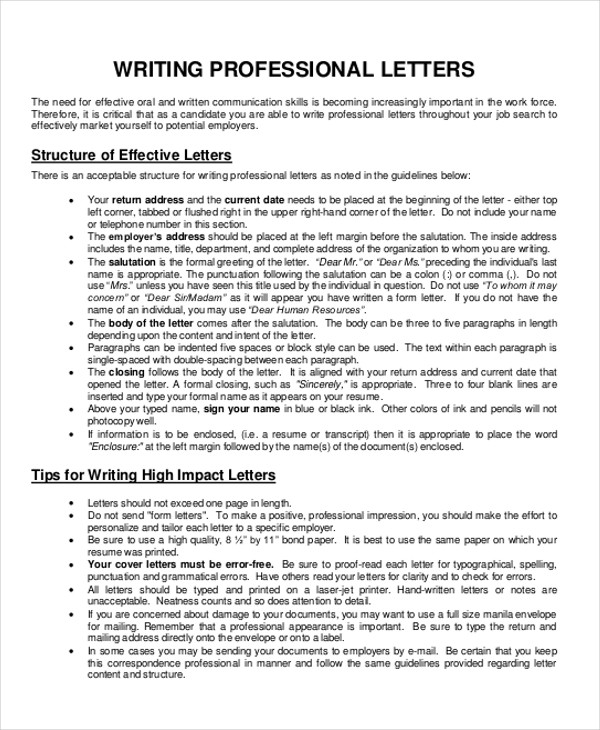 90 sample letters in pdf sample templates professional business letter format spiritdancerdesigns Gallery