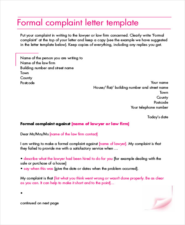 90 sample letters in pdf sample templates formal complaint letter spiritdancerdesigns Image collections