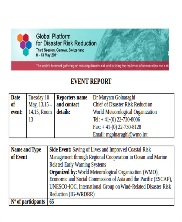 formal event report format