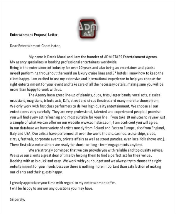 entertainment proposal letter