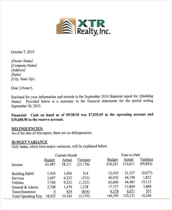 41 Report Format Samples – Finance Report Format
