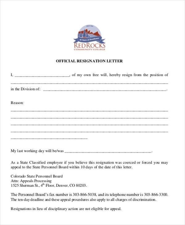 official resgination letter