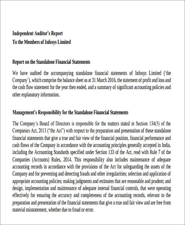 company audit report free