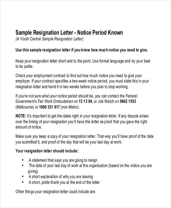 resignation letter notice period known
