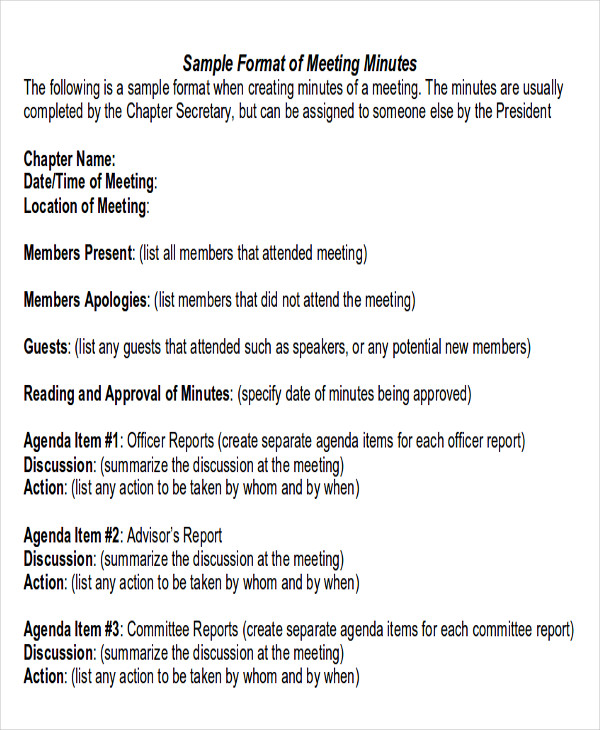 meeting minutes report format