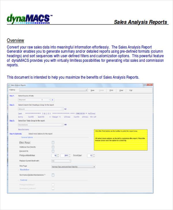 Report Format Samples