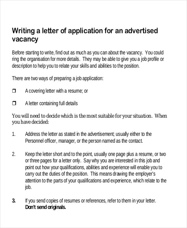 job application letter in pdf