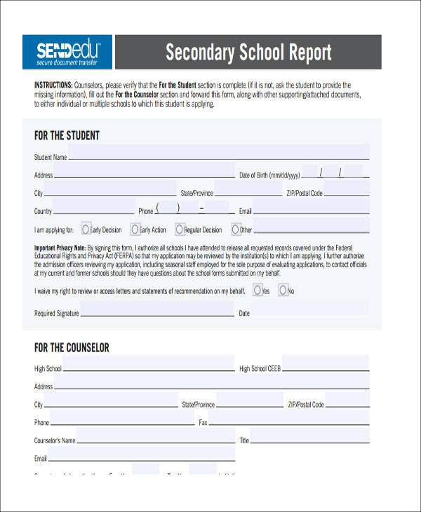 secondary school report pdf