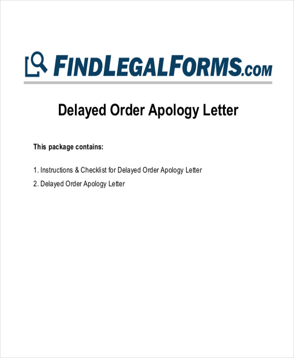 delayed order apology letter