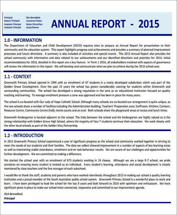 school annual report sample
