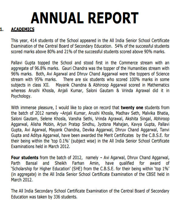 annual school report example