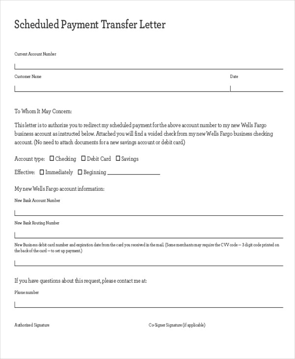scheduled payment transfer letter