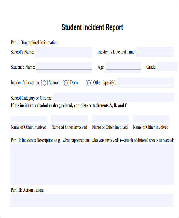 school incident report format