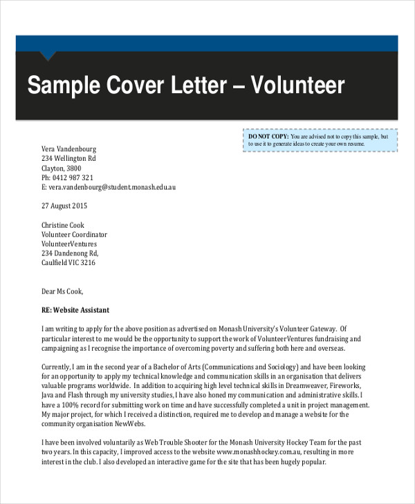 90 sample letters in pdf sample templates for How to write a cover letter for volunteering