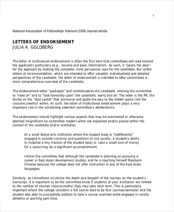letters of endorsement