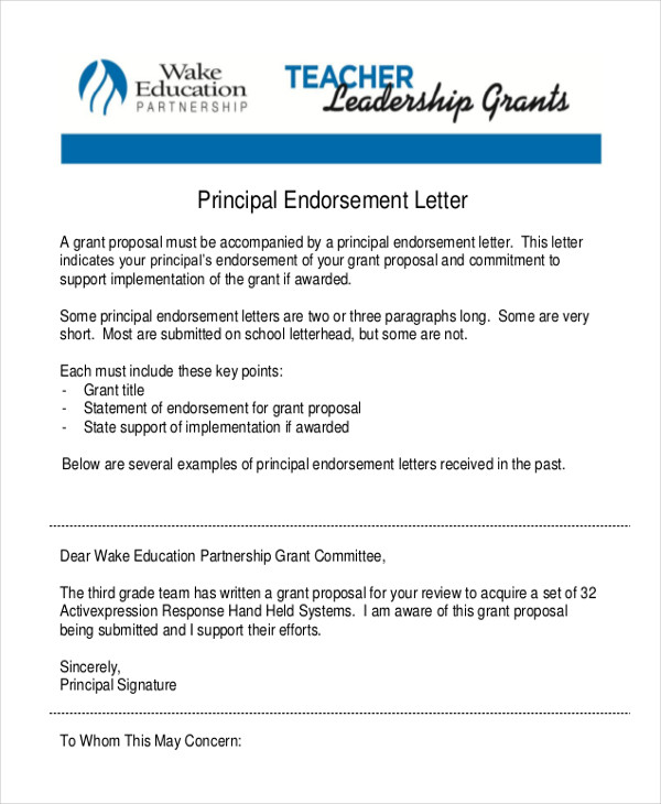 principal endorsement letter