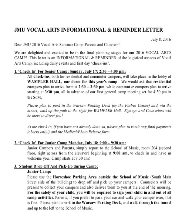 parent reminder letter