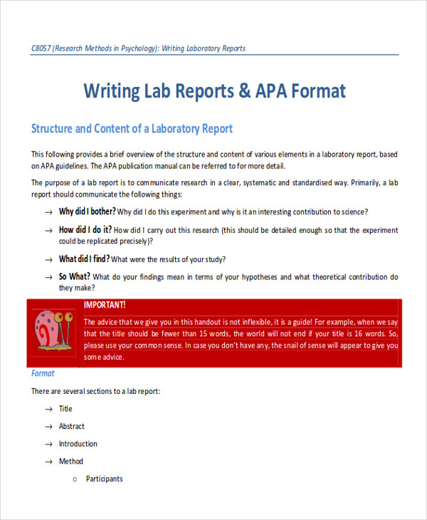9 sample lab report free sample example format download