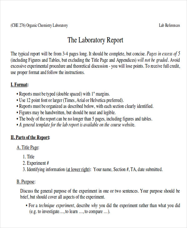 Sample Lab Report  Free Sample Example Format Download