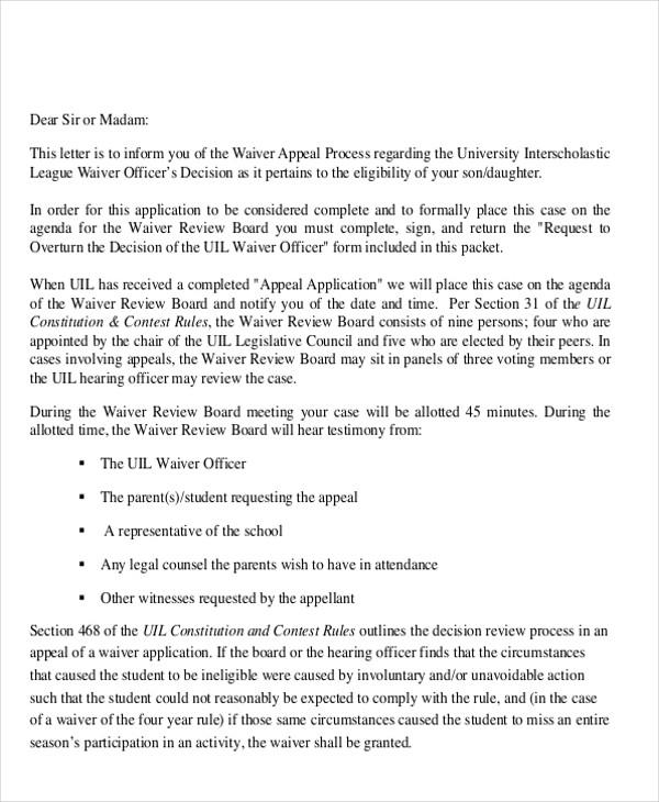 waiver appeal letter