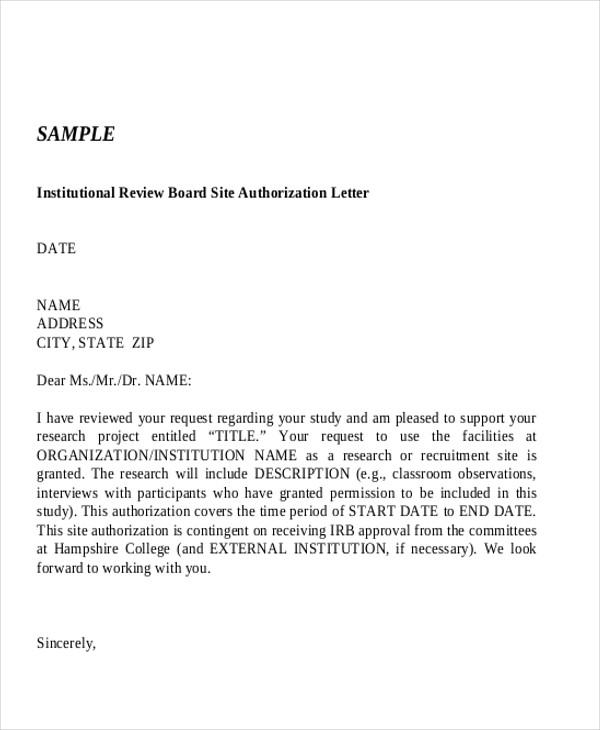 site authorization letter