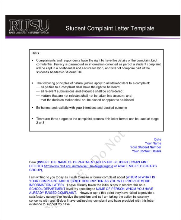 student complaint letter