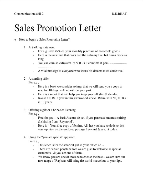 sales promotion letter