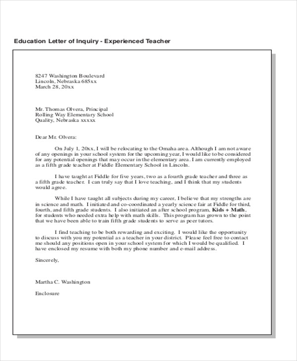 education letter of inquiry