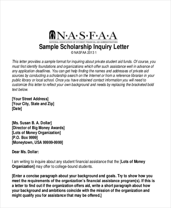 scholarship inquiry letter